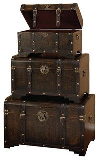 Leather N Wood Chest Trunk Set of 3 with Antique Finish Hardware ...
