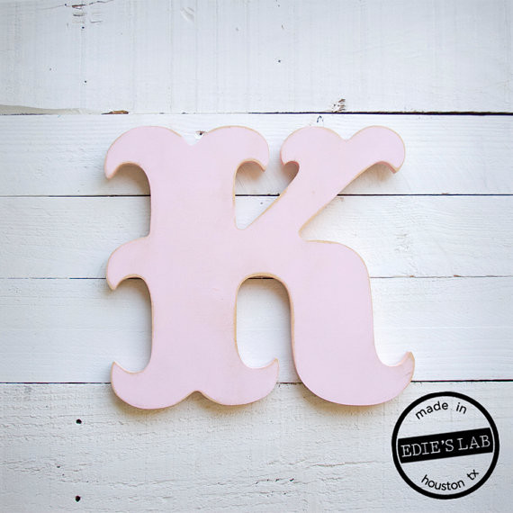 Carnival style wood k letter distressed wall decor by edie Wall letters decor