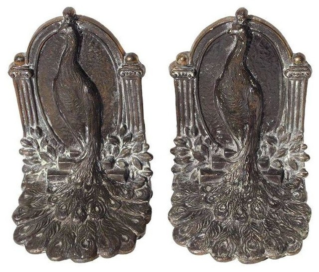 Used Vintage Bronze Peacock Bookends Traditional Bookends By Chairish