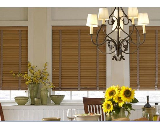 Wood Blinds- Dining Room Inspiration - Wood Blinds have a classic look and timeless appeal. They are extremely versatile and complement any room or decor preference. Wood Blinds are the perfect solution for odd shapped or arched windows becuase they are custom made to fit any sized window and are extremely durable.