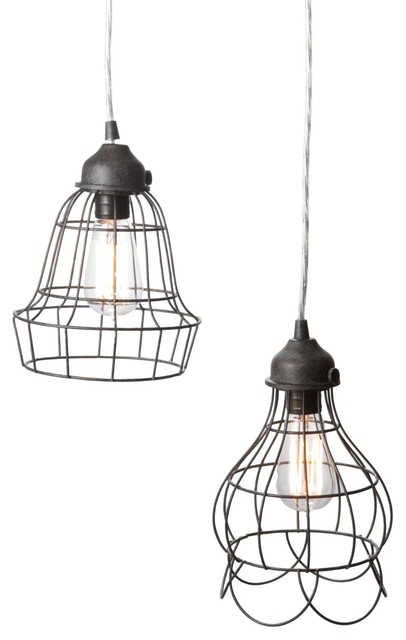 Wire Rose Pendant Light eclectic-pendant-lighting