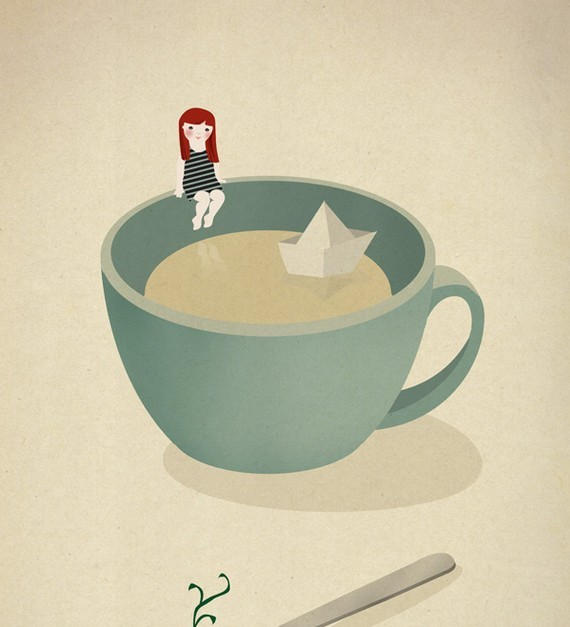 Tea Coffee Girl Paper Boat Ship Illustration By Sara Olmos contemporary-artwork