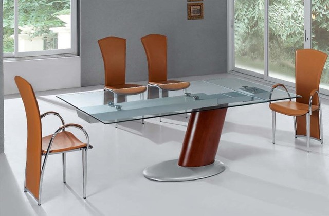 extendable metal glass top leather modern dining room with