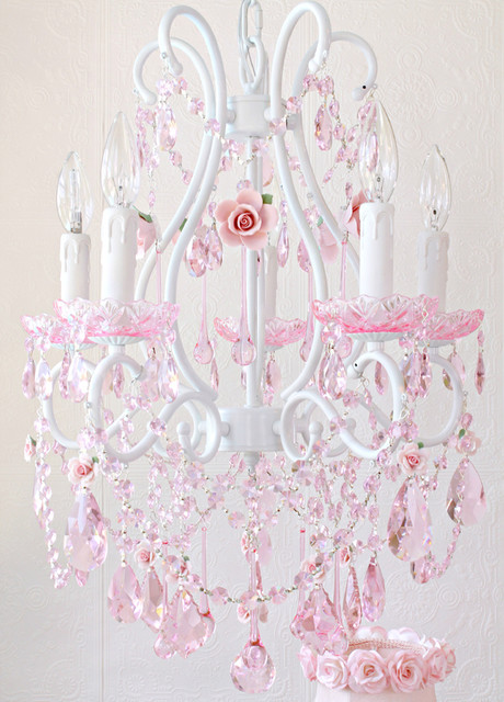 Fairytale Chandelier with Pink Crystal and Porcelain Roses