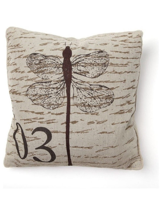Apt2B - Kenter Toss Pillow - Dragonflies are a classic design image, and they never seem to go out of style. This throw pillow exudes a vintage feel that would be right at home on your couch or your bed. And the linen fabric and down filling will ensure a cozy place to rest your head.