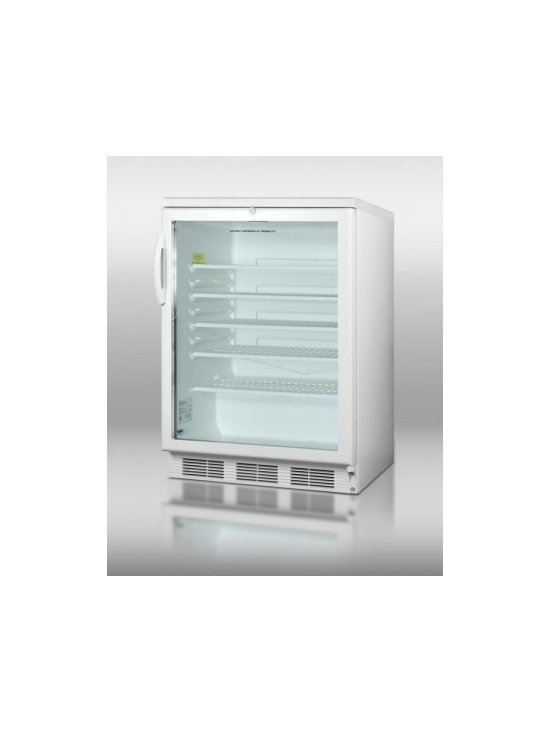 "Summit - Commercial Series SCR-600L 24"" 5.5 cu.ft. Capacity Compact Refrigerator  Factory - With a slim width and full features SUMMIT39s popular SCR600L series of all-refrigerators offer reliable service in a wide range of commercially approved models with glass doorsAt just 24 wide the freestanding SCR600L contains a generous 55 cuft stor..."