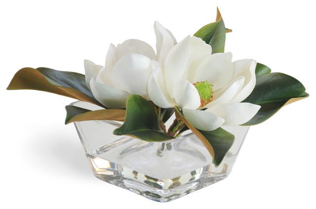 Magnolia In Square Bowl White Flower Arrangement