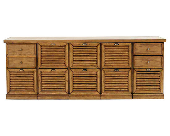 Ballard Designs - Sommerville 5-Cabinet Credenza - Crafted hardwood & fine oak veneers. Warm Oak finish. Holds Legal or Letter size files. Full extension glides. Antique Brass hardware. Airy louvered drawers give our Somerville Office Collection a casual Friday feel. Choose from 2 - Drawer File Cabinets or 3 - Drawer File Cabinets. Mix and match to create a custom console to fit your work and storage needs. 5-Cabinet Credenza features: . . . . .