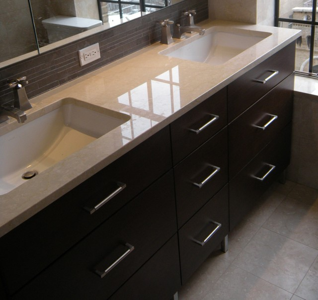 Double Sink 7 Drawer Vanity Modern Bathroom Vanities And Sink Consoles New York By Paula