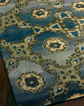 Zadad Blues Runner, 2'6 x 8' traditional-rugs