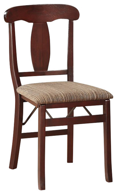 Linon Triena Emily Upholstered Fabric Seat Folding Chair in Espresso Set of