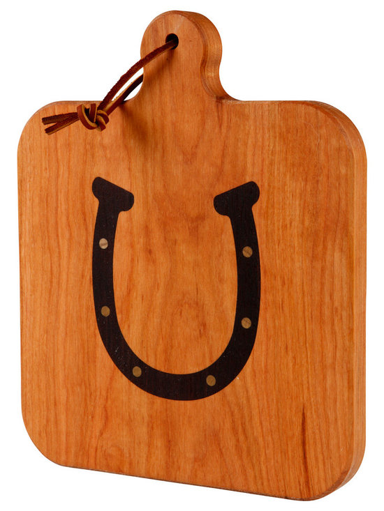 Kentucky Cutting Boards - Cherry Cheeseboard With Horseshoe - You may not need the luck of the horseshoe in the kitchen but it sure can't hurt. Treat yourself and your cheeses to this crafted cherry cheeseboard with a horseshoe inlay and deliver your spread with a flare. Add some pears, apples, grapes or other nibbles to the mix and let the good times roll.