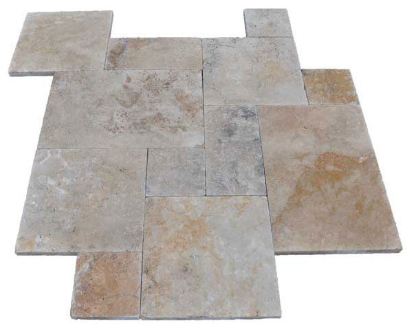French Pattern Country Classic Travertine Pavers - Tumbled modern floor tiles