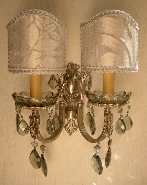 Wall Sconces With Shades And Crystals : Antique Silver Bronze and Smokey Crystal Wall Sconces w Silk Rubelli Lamp Shades - Wall Sconces ...