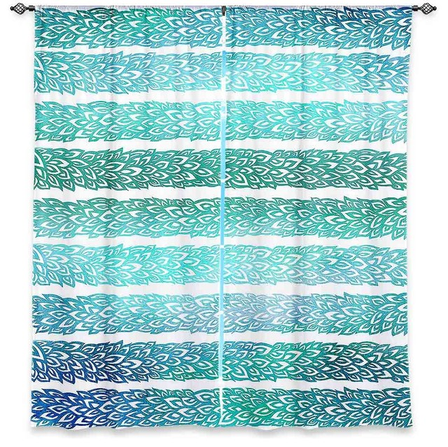 Window Curtains Unlined - Pom Graphic Design Paradise Leafs Blue tropical-curtains