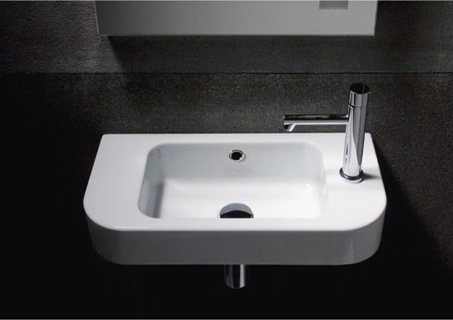 Simple Rectangular Wall Mounted Sink With Curved Front By
