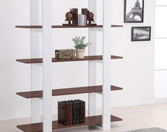 Ellise Bookcase/Display Stand in Matte Walnut and White modern-bookcases