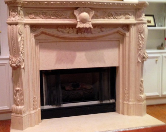 Installations - Houston-hand carved custom marble mantle