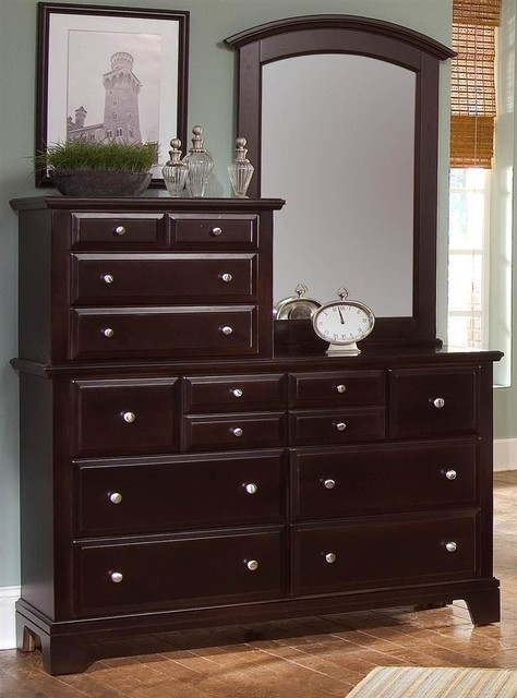 10-Drawer Vanity Dresser Set In Merlot Finish
