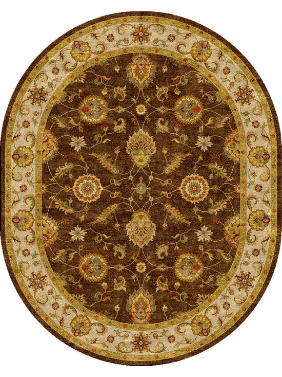 Jaipur Rugs - Traditional Oriental Pattern Beige /Brown Wool Tufted Rug - MY01, 8x10 Oval - Sublime hues and graceful lines accentuate the traditional pattern motifs in Mythos, an elegant and value-driven range of durable, hand-tufted area rugs. This sophisticated collection is for the discriminating consumer with a passion for traditional design, at prices that answer every budget. The Mythos Collection is tradition, redefined.