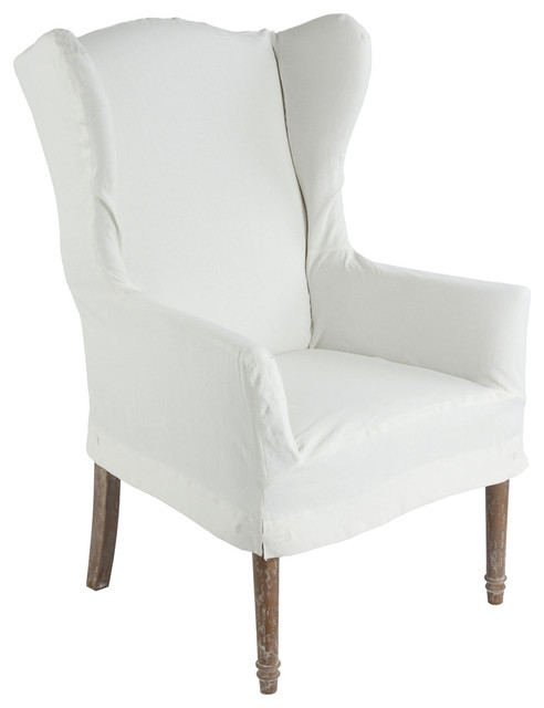 Eli french country wing back dining arm chair slip cover for French farmhouse dining chairs