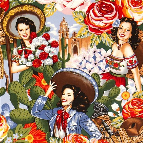 Mexican Women Fabric By Alexander Henry Sombrero Flower