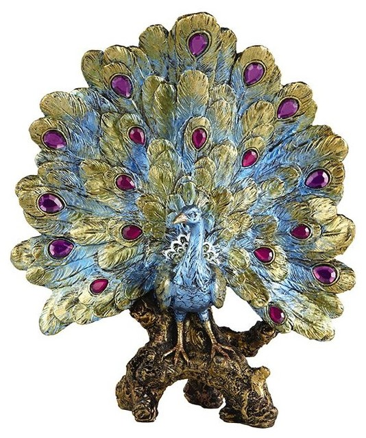 Blooming decorative peacock traditional decorative objects and figurines by home - Outdoor peacock decorations ...