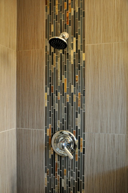 Waterfall shower accent modern bathroom other metro for Waterfall tile design