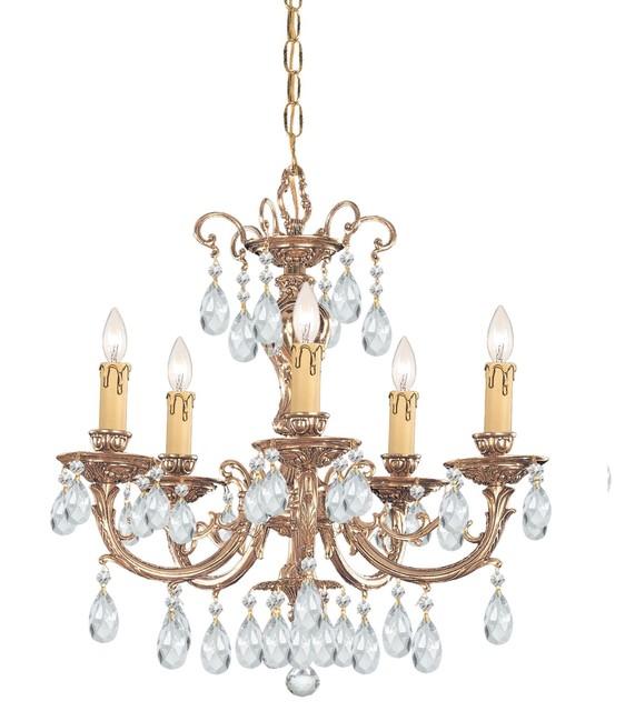 Ornate Cast Brass Chandelier Accented with Swarovski Spectra Crystal modern-chandeliers