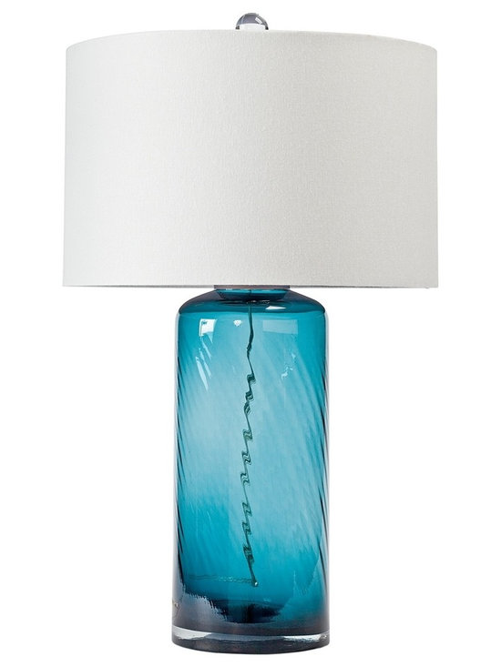"""Regina Andrew - Regina-Andrew Textured Earth-Glass Table Lamp - Perfect for a side table this glass table lamp features a textured earth-glass base design. The glass base exudes a blue hue for a beautiful effect. Topped with a light-colored lamp shade. Glass table lamp. Textured finish. Natural linen lamp shade. Maximum 150 watt or equivalent bulb (not included). 3-way switch. Shade measures 17"""" across the top and bottom 10"""" high. 17"""" wide. 28"""" high.   Glass table lamp.  Textured finish.  Natural linen lamp shade.  Maximum 150 watt or equivalent bulb (not included).  3-way switch.  Shade measures 17"""" across the top and bottom 10"""" high.  17"""" wide.  28"""" high."""