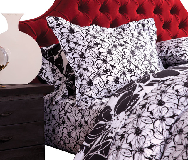 Midnight in the Garden White Duvet Set contemporary-duvet-covers
