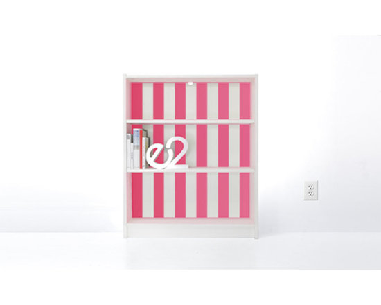 PANYL Hot Pink Thick Stripes for IKEA BILLY - Give your bookcase a bold new look with PANYL Thick Stripes. Easy to apply and no mess!