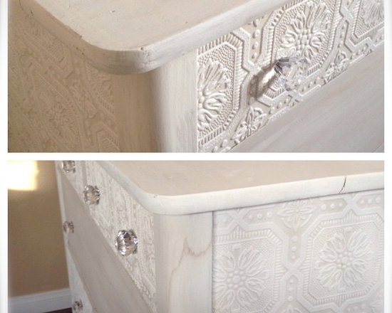 Small White Dresser - I made a wash out of white latex paint so some of the wood grain shows through.