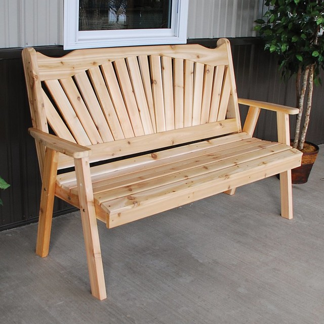 A & L Furniture Western Red Cedar Fanback Garden Bench - 481C-UNFINISHED - Contemporary ...