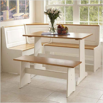 Linon Ardmore 3 Piece White Pine Corner Breakfast Nook traditional dining tables