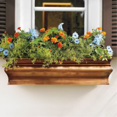Lena Copper Finish Window Box traditional-outdoor-planters
