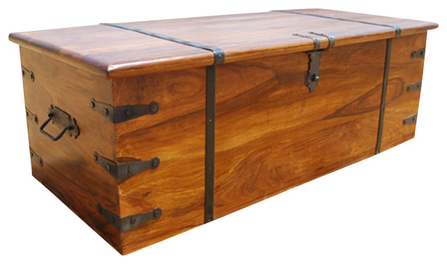 Large Rustic Solid Wood Storage Trunk Coffee Table Chest Rustic Coffee