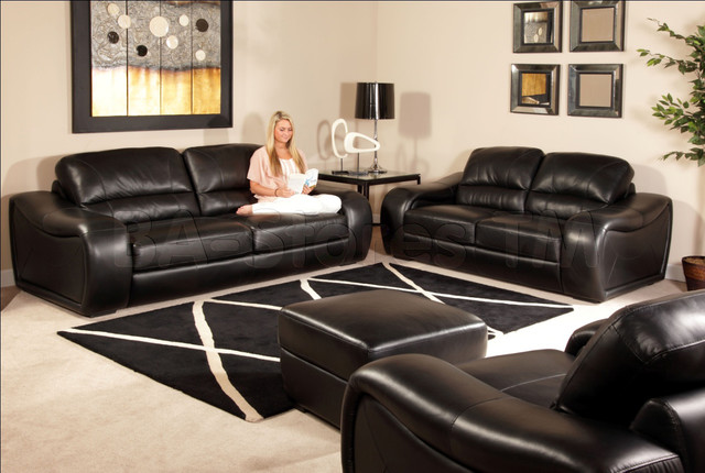Soho 4 pc sofa set in black semi aniline italian leather for Matching living room furniture sets
