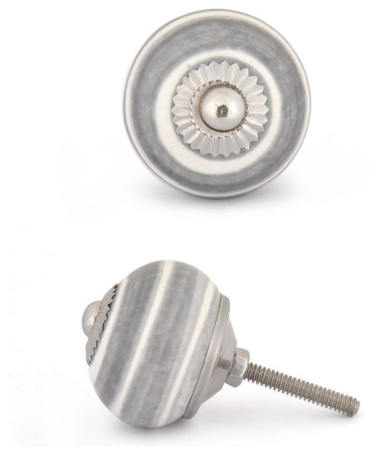 Ceramic knobs, Gray and White, Set of Two - Eclectic - Cabinet And Drawer Knobs - by Knobco