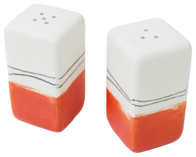 Salt And Pepper Shakers Red W Black Drawing