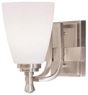 Uptown Brushed Nickel One-Light Bath Fixture contemporary-bathroom-lighting-and-vanity-lighting