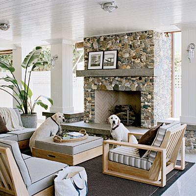 beach stone fireplace