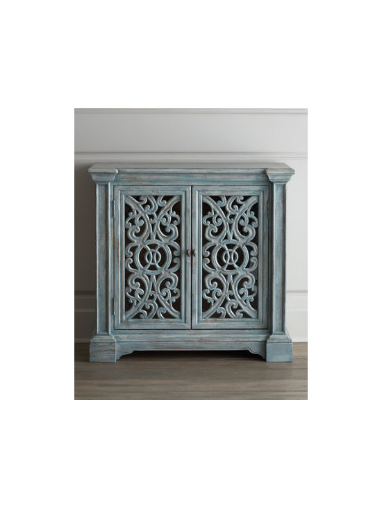 Horchow - Laciann Chest - High style decorative chest features open fretwork door fronts and an adjustable storage shelf inside. A beautifully distressed, subdued blue finish adds to its charm. Handcrafted of select hardwood solids, laminated lumber, and veneers. Hand-painted....