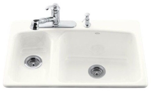 Lakefield Self Rimming Kitchen Sink in White with Three Hole Faucet Drilling modern-bath-products