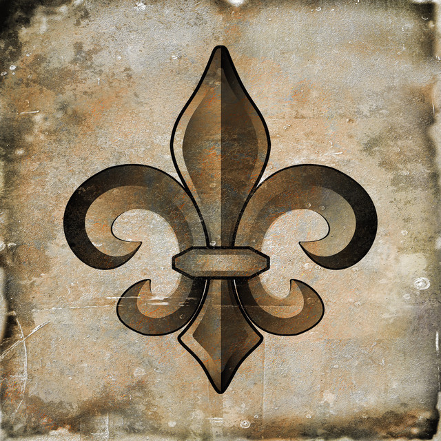 Art in style fleur de lis bronze giclee on canvas wall art Fleur de lis wall