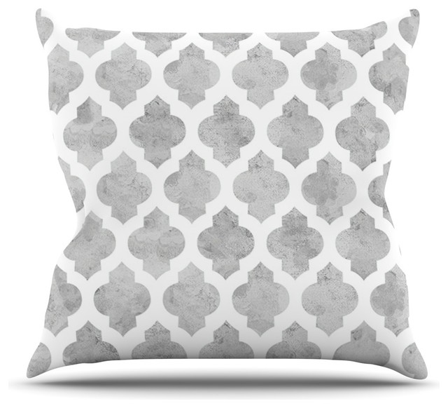 "Amanda Lane ""Gray Moroccan"" Grey White Throw Pillow (26"" x 26"") contemporary-decorative-pillows"