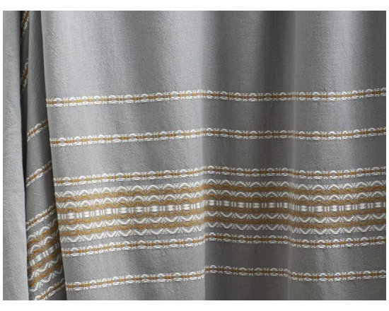 "Coyuchi - Rippled Stripe Shower Curtain 72""x72"" Deep Pewter w/Mustard - Woven scallops and stripes traverse organic cotton, bringing unexpected verve to the bath. Our shower curtain is unlined, and can be used with an additional liner or without'just squeeze the water out of the lower edge after use and let it dry. Hangs from rustproof metal grommets across the top."