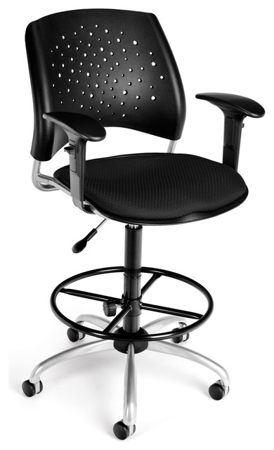 OFM - Modern Swivel Drafting Stool With Adjustable Arms modern-task-chairs