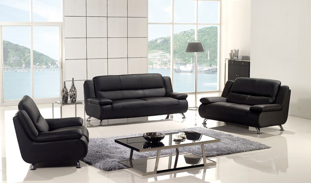 pc modern black leather sofa set couch loveseat chair living room