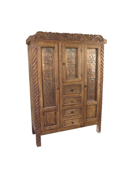 Mexican Artisans - Rustic Wardrobe - Inspired by Spanish Colonial design and hand-crafted in Mexico, this ornately carved armoire brings a sense of grandeur to your bedroom. From its braided borders to its rustic metal hardware, it makes a bold, striking style statement.